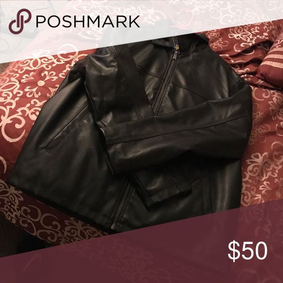 Black leather jacket polo leather jacket worn twice Polo by Ralph Lauren Jackets & Coats