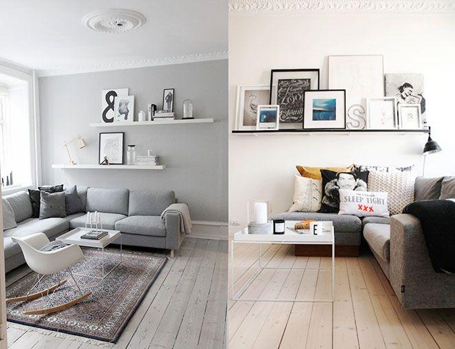 """Se o seu sofá é em """"L"""", você pode aproveitar só o cantinho menor para apoiar estantes. Se ele é um pouco mais baixo, como os das fotos abaixo, vale a pena combinar mais do que uma estante e fazer uma brincadeira entre objetos do dia a dia, decorações, lembranças de viagem, livros, revistas e quadros. Fica lindo!"""