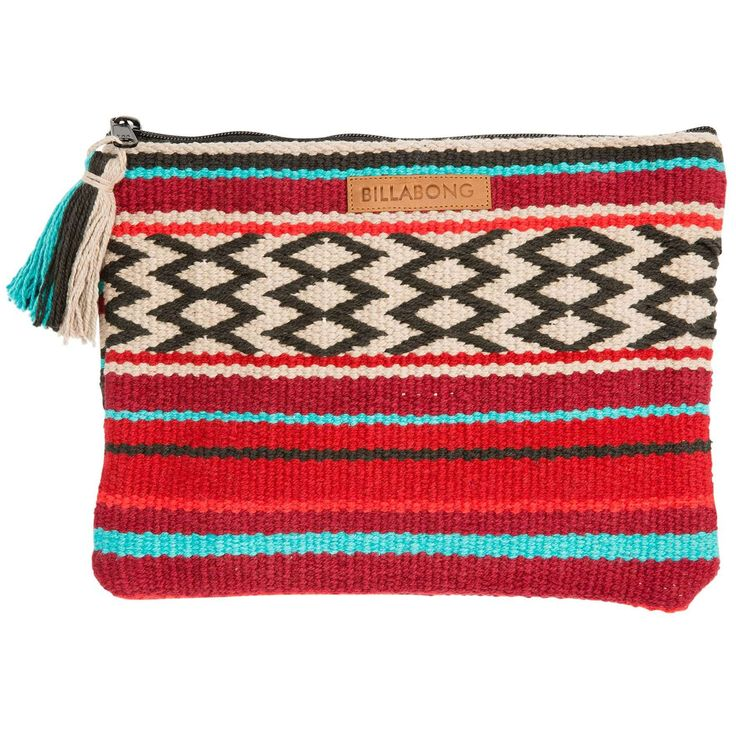 Bold things come in small packages. Woven jute clutch. Zippered top closure. Tassel detail at zipper pull. Tablet compatible. Material: 100% cotton.