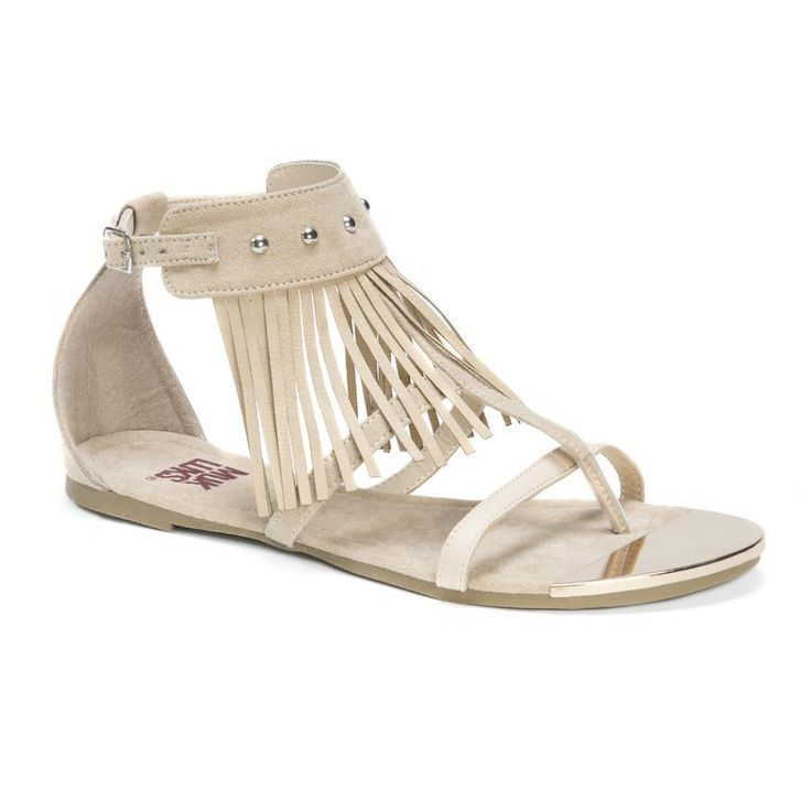 Take on the boho trend this summer in our MUK LUKS' Piper Gladiator Flat  Sandals. With an adjustable ankle strap and gold fringe accents, these  strappy ...