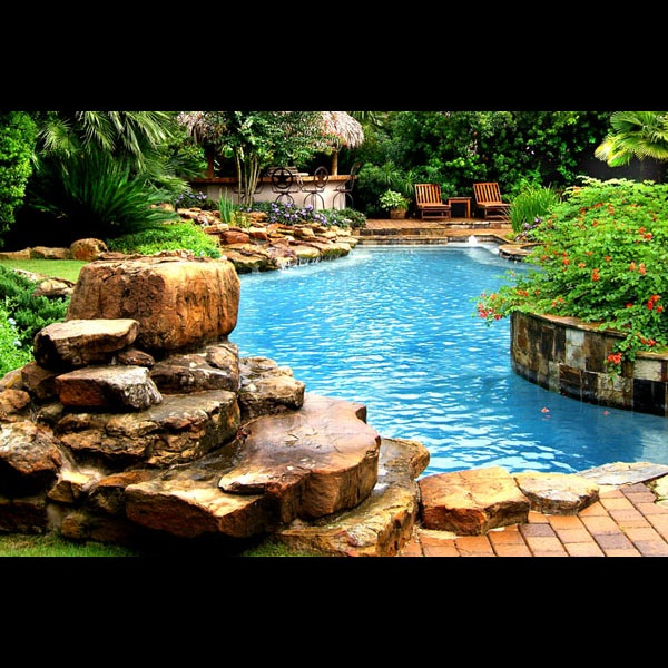 1000 images about pool outdoor kitchen designs on - Swimming pool designs with waterfalls ...