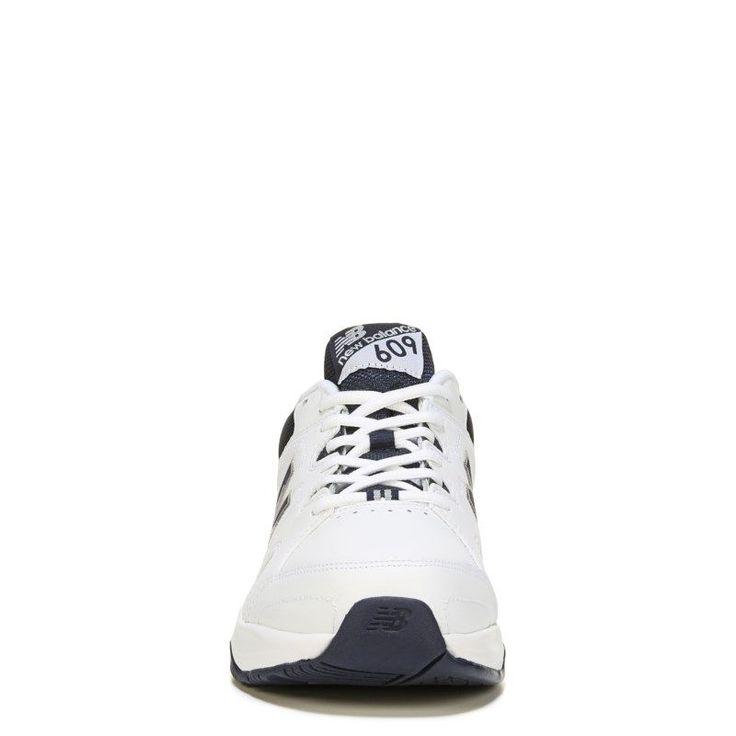 New Balance Men's 609 V3 Memory Sole X-Wide Sneakers (White/Navy) - 10.5 4E