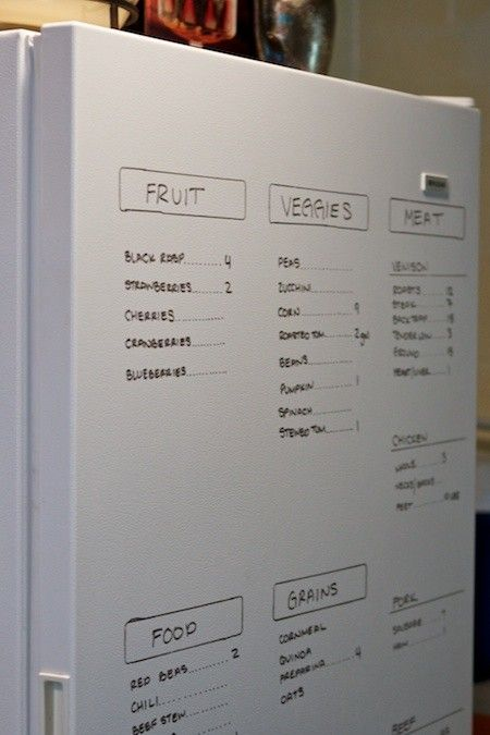 I really like this!! Track your deep freezer yummies with a DRY ERASE marker. A magnetic strip with adhesive will keep track of the marker so you can change totals as you raid the freezer. ☺