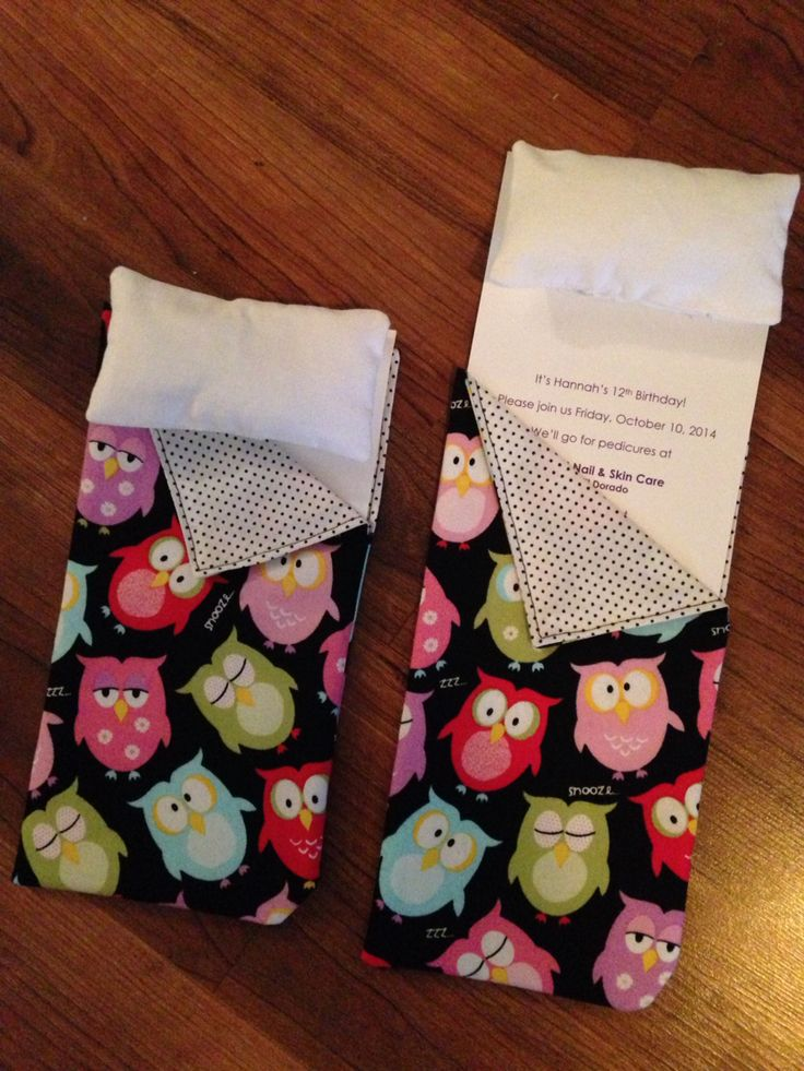 Sleeping bag invitations for my daughter's 12th birthday slumber party. Pull on the pillow to reveal the invite.