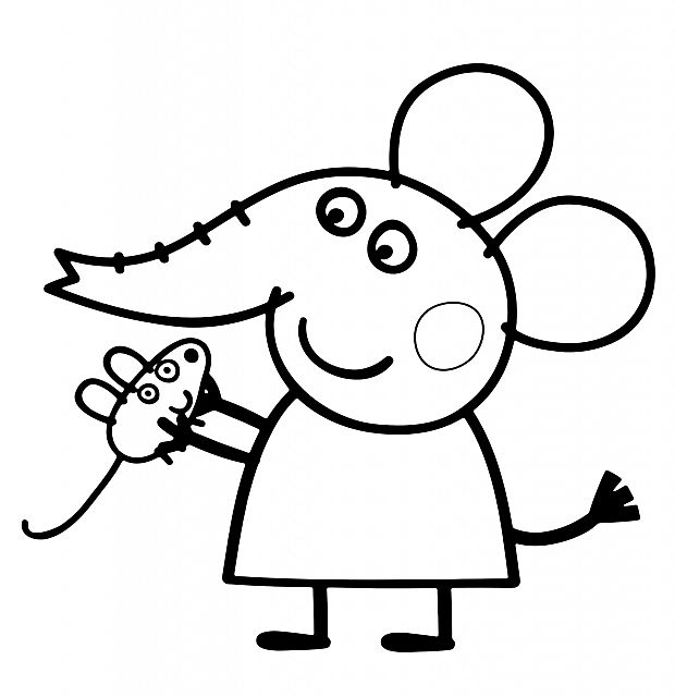 Emily elefante con topolino disegno da colorare gratis