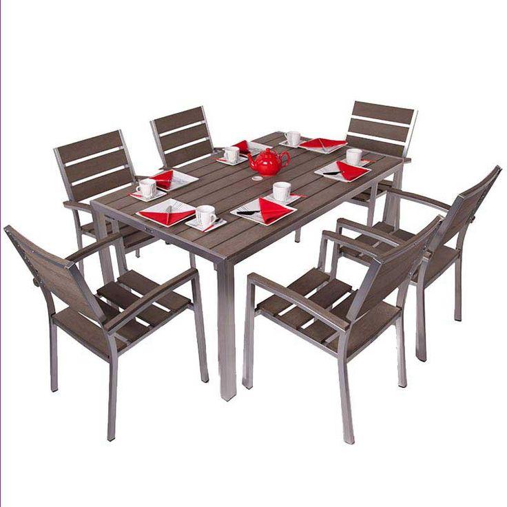 BrackenStyle Valencia Rectangular Plaswood Dining Set - Seats 6