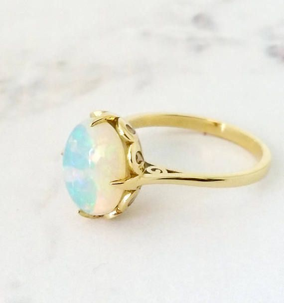 Opal ring, Unique engagement ring, 18K Solid Yellow Gold  ring, Vintage gemstone ring, Enamel ring, Oval, Gold Boho ring, October birthstone