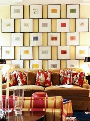 Eclectic Yellow Brown Red Living Room Design With Gallery Frames Photo  Gallery, Brown Velvet Couch