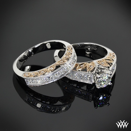 """18k White and Rose Gold """"Delicate Blush"""" Diamond Engagement Ring and Wedding Ring"""