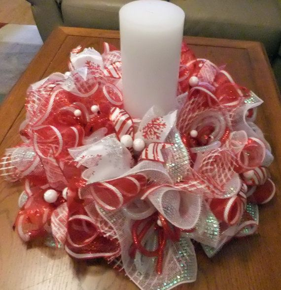 This beautiful Centerpiece Wreath is full of fun for your Holiday Table and home decorating I made it with three colors premium mesh - red,