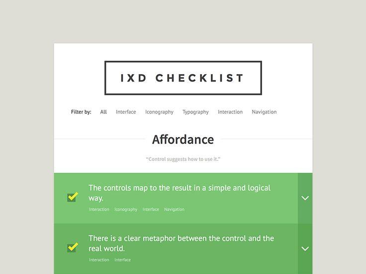 interaction design checklist.