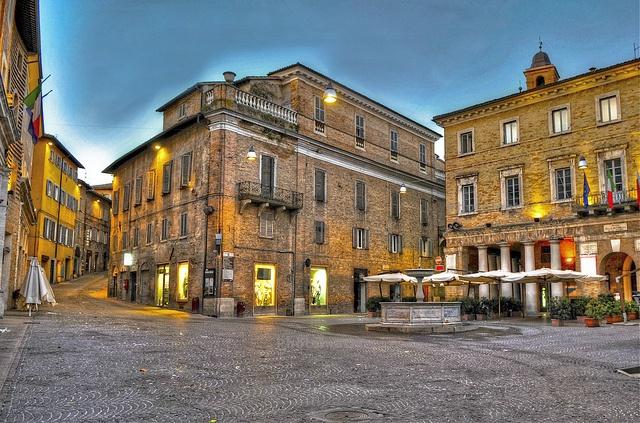 My favorite place in the world: Piazza della Repubblica in Urbino, Italy. Incredible photo by Marco Ugoccioni, via Flickr #ridecolorfully