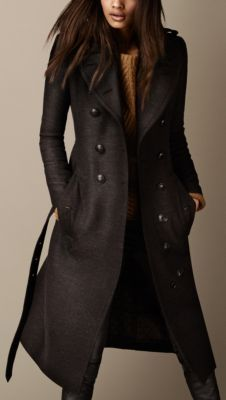 Burberry Brit Long Wool Twill Trench Coat
