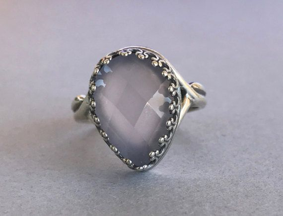 Natural Faceted Pink Quartz Pear shape Crown Setting Ring