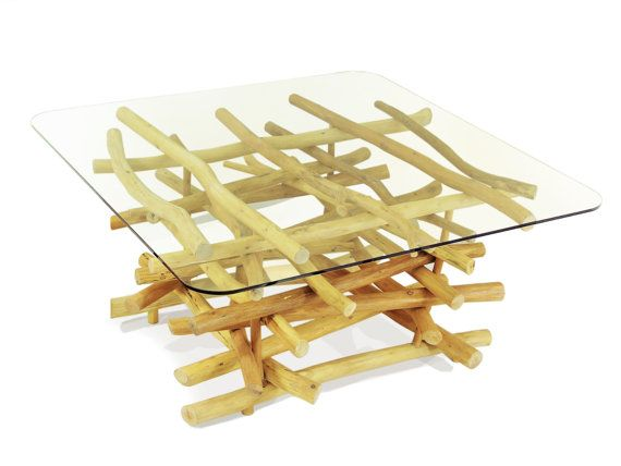 Organic handmade square coffee table of branches by FreeTreeStudio | see more at https://www.etsy.com/shop/FreeTreeStudio