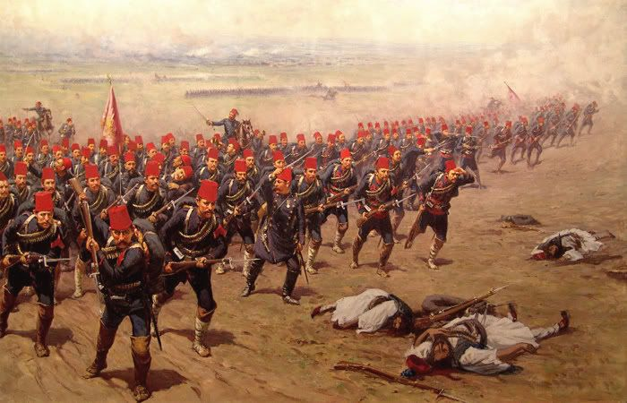 Ottoman Infantry advance. Russo-Turkish War, 1877.