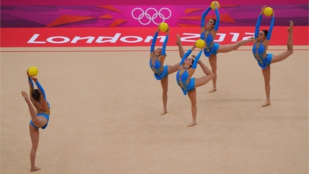 The Great Britain team competes in the Group All-Around Rhythmic Gymnastics on Day 13 of the London 2012 Olympics Games at Wembley Arena