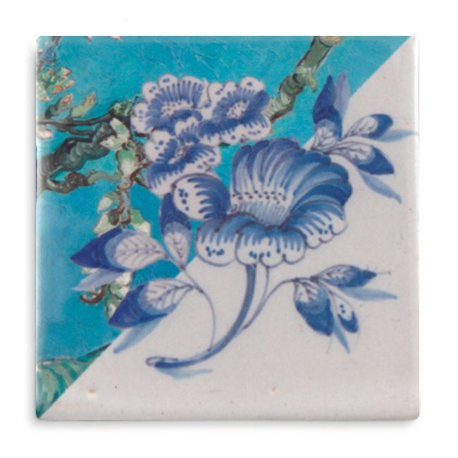 """In """"Van Gogh's Garden"""" the traditional Old #Dutch #tiles, meet the famous painting """"Almond Blossom"""". The #design is a tribute to the old master and his view on the essence of nature, which inspires Marga van Oers as well. His """"Almond Blossom"""" is a symbol of young life, made to celebrate the birth of his nephew. #Art #HomeDeco #StoryTiles"""