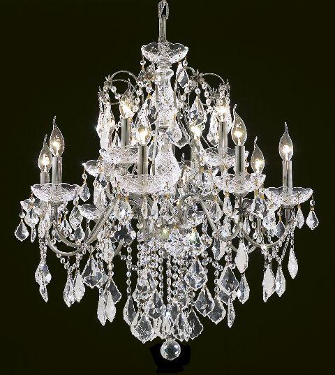 Victorian Design 12 Light 28 Chrome Or Gold Metal Chandelier With European Swarovski Crystal