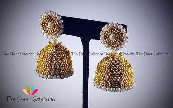 Grand Gold Jhumkas by TheFinerSelection on Etsy