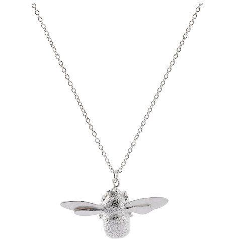 Buy Alex Monroe Bumble Bee Pendant Necklace, Silver Online at johnlewis.com