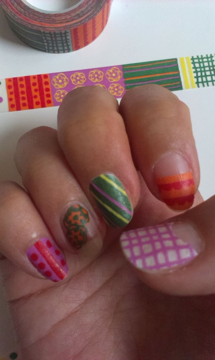 16 best washi tape nails images on Pinterest | Tape nails, Washi and ...