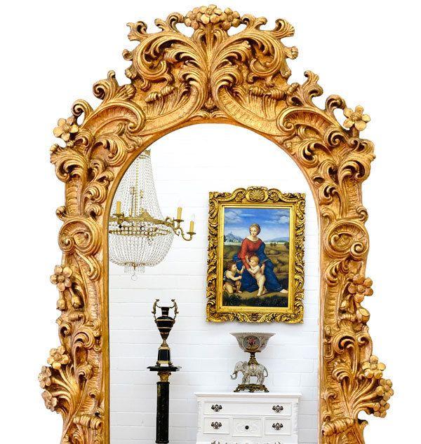 AKANTHUS ENGEL SPIEGEL GOLD ca.120x60cm PUTTO KONSOLSPIEGEL LUXUS WANDSPIEGEL