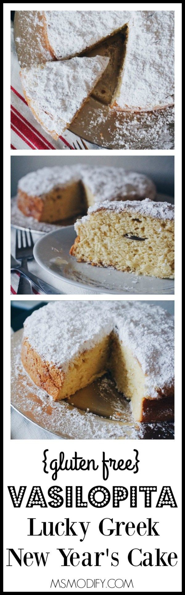 This traditional Lucky Greek New Year's Cake called a Vasilopita, has a hint of orange flavor, is covered in powdered sugar and has a coin hidden inside for good luck!