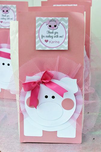 Cute favors at a pig princess birthday party!  See more party ideas at CatchMyParty.com!