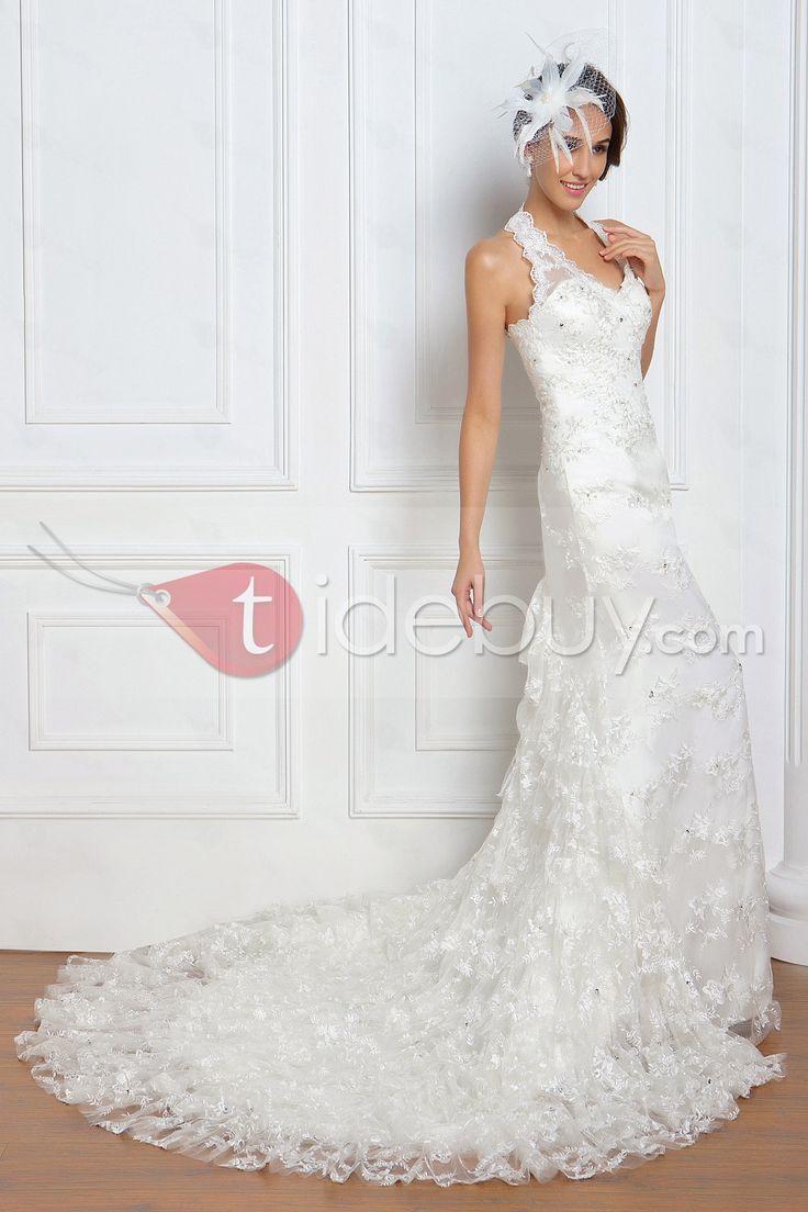 Pretty Trumpet/Mermaid Halter Tiered Chapel Renata's Wedding Dress : Tidebuy.com