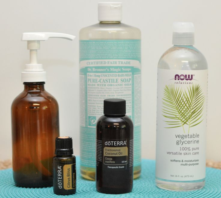 DIY Body Wash - 8 oz. glass pump bottle, 1/2 cup unscented Castile soap, 4 tablespoons vegetable glycerin, 3 tablespoons fractionated coconut oil, 10 drops essential oil