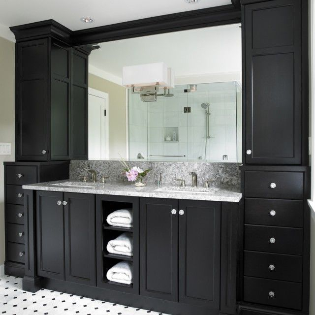 black bathroom cabinets with white and grey counter top and black and white floor tiles - How Tall Is A Bathroom Vanity
