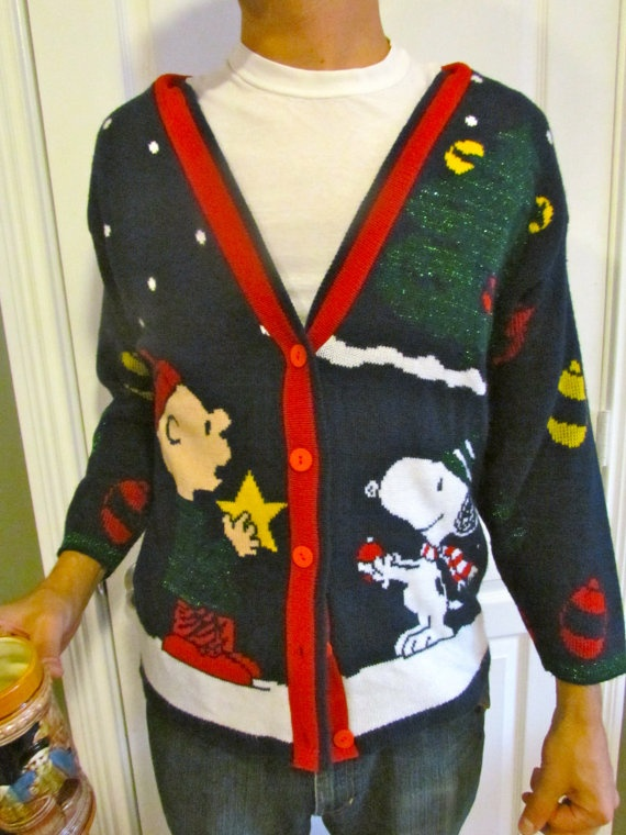 Vintage Charlie Brown Christmas Sweater Cardigan Snoopy And The