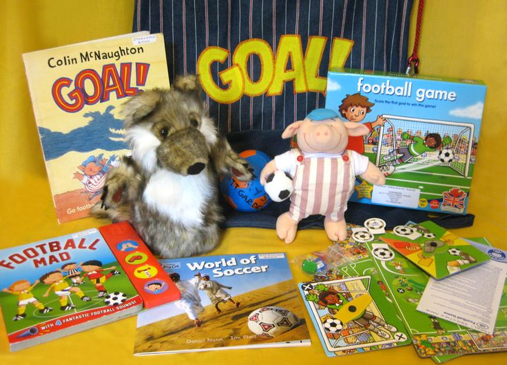 'Goal' (by Colin McNaughton). I put together this football themed storysack to capture the interest of reluctant young male readers. September 2014 - Myatt Garden Storysacks Library
