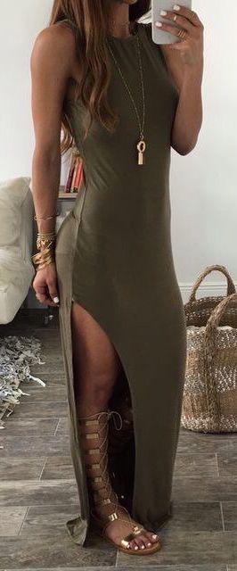 summer outfits olive slit dress
