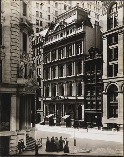 The New York Stock Exchange, 10-12 Broad Street, 1865 - 1903. Photo taken around 1900.