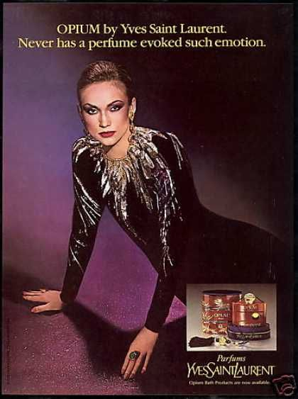YSL Opium Perfume Evokes Emotions Photo (1980) - http://www.vintageadbrowser.com/beauty-and-hygiene-ads-1980s/8