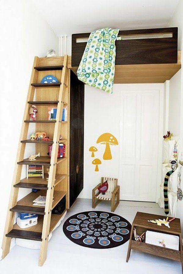 Schön Kinderzimmer Spielbett Originelle Treppe Runder Teppich
