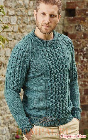 Мужской пуловер фасона «реглан» украшен рисунком со жгутами. Описание мужского пуловера от дизайнера Pat Menchini…