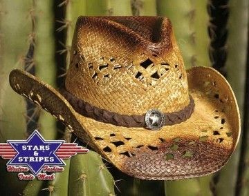Corbeto's Boots | 50-COYOTE | Sombrero cowboy Stars & Stripes paja rígida calada perfecto para el verano | Fretwork straw cowboy hat perfect for the summer.