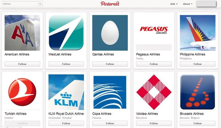 Airlines @ Pinterest