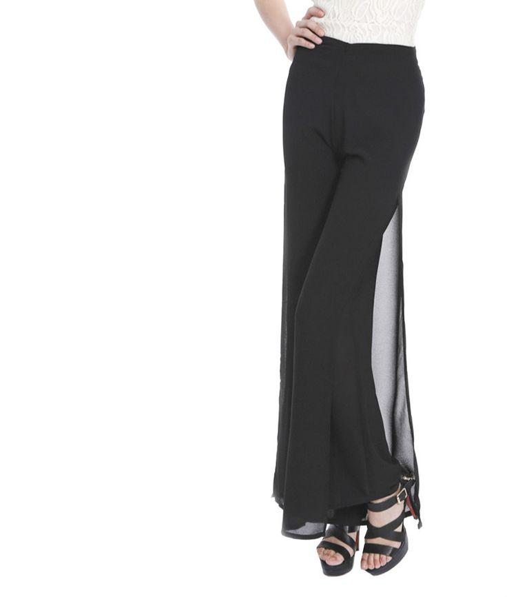 Женщины Дамы Старинные Свободные Высокой Талии Длинные Брюки Шифон Сторона Сплит Случайные Палаццо Брюки Широкую Ногу Брюки pantalones купить на AliExpress