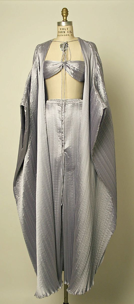 Blue polyester satin loungewear (pants, bandeau top, and peignoir), by Bill Tice, American, 1978.