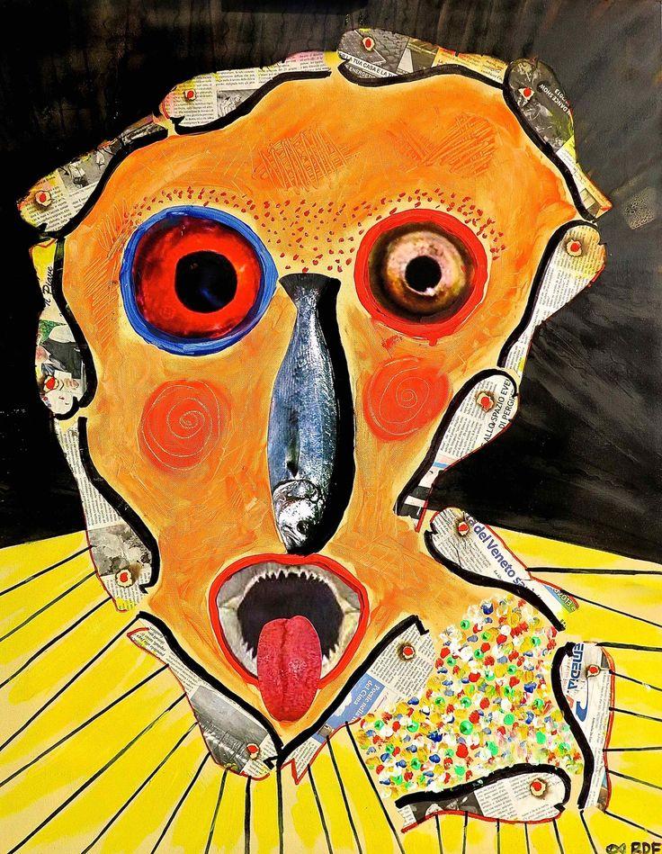 "title: PESCI IN FACCIA- acrylic-enamel-paper- on canvas_ 90x70cm-35.4""x27.6""_"
