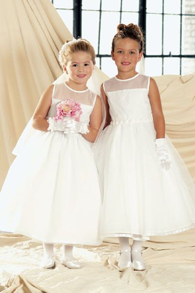 White Simple Style A-Line Ankle Length Sheer Neckline First Communion Dresses Emilys First Communion Ideas | Big Fashion Show communion dresses