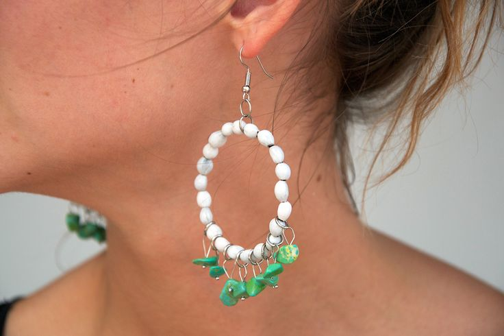 White Mary's Tears Seeds and Green Turquoise Earrings