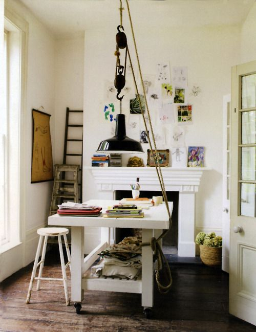 workspace: Idea, Studios, Offices Home, Lights Fixtures, Offices Spaces, Work Spaces, Workspaces, Hanging Lamps, Home Offices