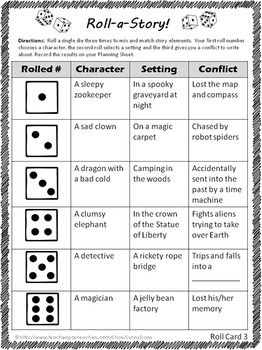 ROLL-A-STORY CREATIVE WRITING - TeachersPayTeachers.com