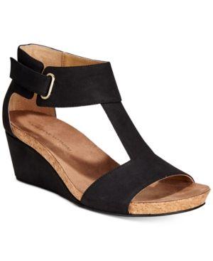 Adrienne Vittadini Trellis Ankle-Strap Wedge Sandals - Black 7.5M