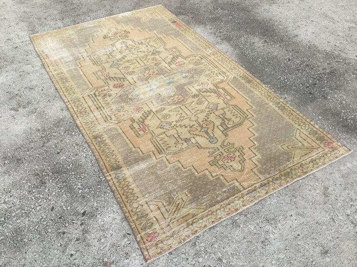 4'4x7'9 feet,muted rug, pastel rug, faded rug, 240x134 cm turkish rug, anatolian small rug, pink rug, nomadic rug, midcentury 5542 by EclecticRug on Etsy